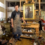 Quang Ho in his studio
