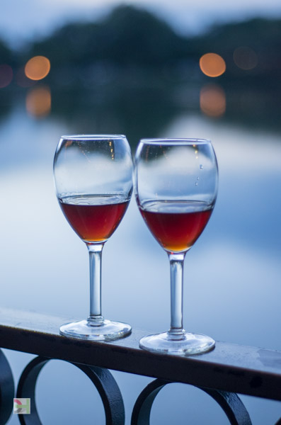 Sherry, glasses, lake