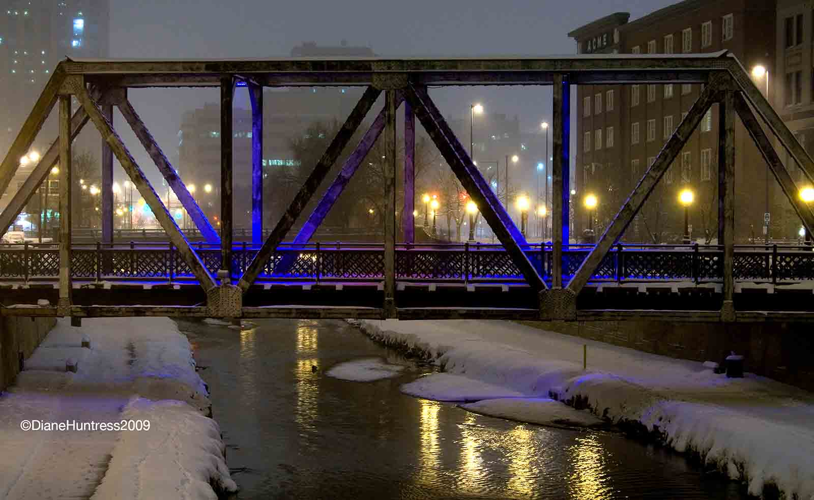 snow evening bridge